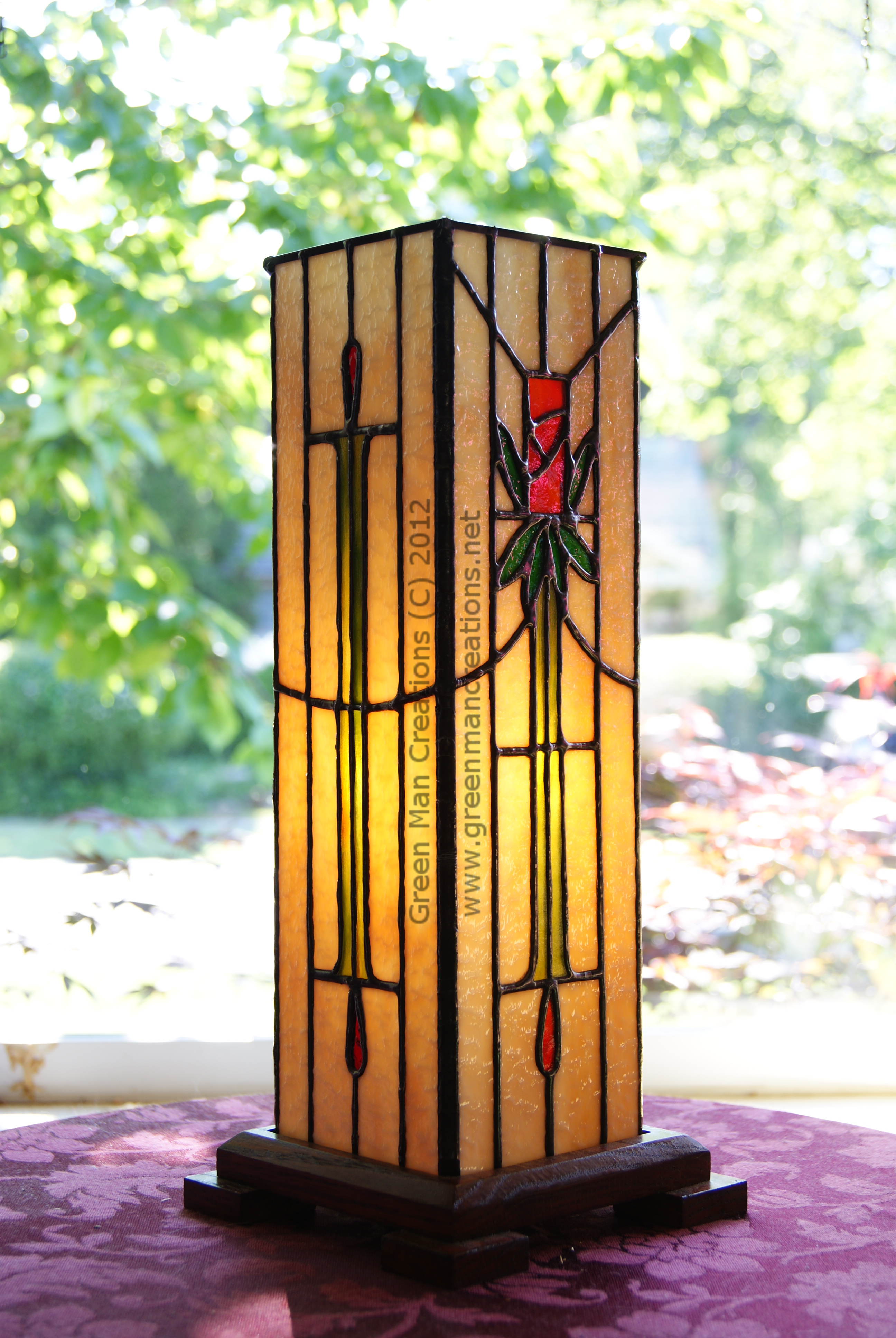 Modified Arts and Crafts Rose Wine Box Lamp