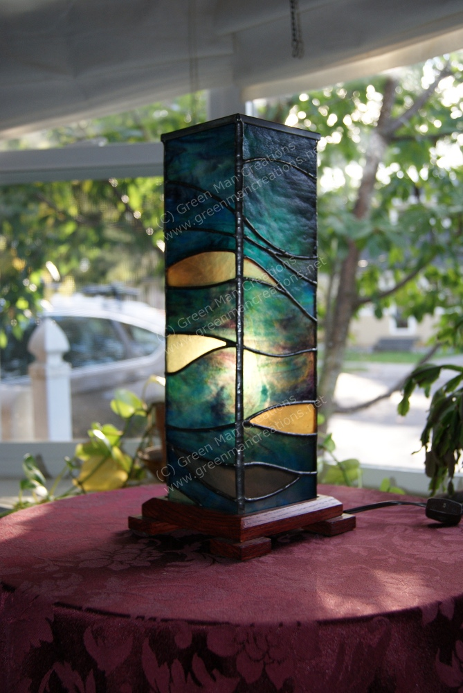 Blue Waves Wine Box Lamp